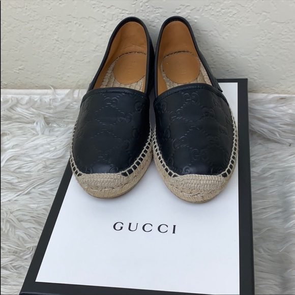 ddbf5ad3f Gucci Shoes | Authentic Black Leather Espadrille | Poshmark